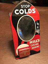 Rare Vintage Hill's Cold Tablets Drugstore Tin Advertising Display With Mirror