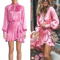Divine Heritage Pink Plunging V Neck Ruffle Victorian Style Mini Dress