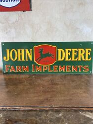 3-55 Vintage Style And039and039john Deereand039and039 Gas And Oil Dealer 24x8.5 Inch Porcelain Sign
