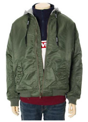 Levi Strauss Graphic Hooded Bomber Jacket Olive Green S / M Lined Bnwt