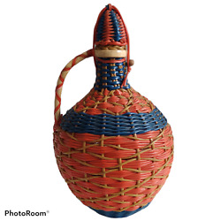 Vintage Viresa Neon Colorful Wicker Wrapped Bottle With Stopper Beautiful