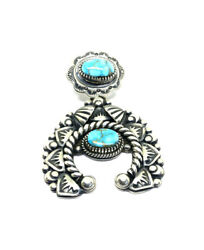 Native American Navajo Hand Made Sterling Silver Blue Royston Turquoise Pendant