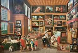 Oil Painting On Canvas Interior With An Art Collection And Art Lovers