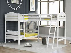 Merax Twin Over Twin L-shaped Bunk Bed And Loft Bed Espresso/white/gray