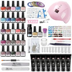 Meet Across Poly Extension Gel Kits W/ 36w Usb Lamp French Nail Tips Salon Tools