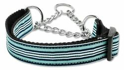 Preppy Stripes Nylon Ribbon Dog Pet Puppy Martingale Choke Collar