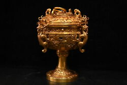 Chinese Rare Han Dynasty Collection Old Copper Gilded Four Dragon Tripod 四龙鼎