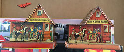 Lot Of 2 Vintage Bar X Dude Ranch Us Metal Tin Lollipop And Coin Bank
