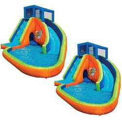 Banzai Falls Inflatable Water Park Kiddie Pool With Slides And Cannons 2 Pack