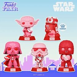Funko Pop Star Wars Valentines Day Pink Full Complete Set Of 5 Including R2-d2