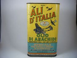 Rare Ali D'italia Planters Peanut Oil Tin Can With Awesome Airplane Graphics