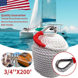 White Twisted 3/4and039and039 Andtimes200and039 Ft Boat Marine Anchor Line Dock Mooring Rope Us Stock