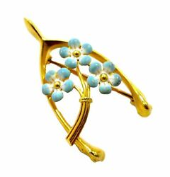 Art Nouveau - Antique Enamel Yellow Gold Wishbone Brooch Taylor And Co.