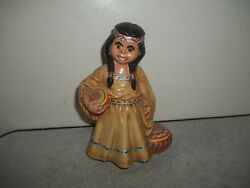 Vintage Ceramic Girl Woman Holding Pots Figurine Colorful 7 1/2 In Tall Nicel@@k