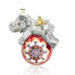 Jay Strongwater Playful Baby Elephant Glass Ornament Sdh20016-280 New