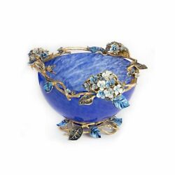 Jay Strongwater Sophie Hydrangea Glass Bowl Finished In Gold Sdh2307-284 New