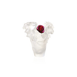 Daum White Vase And Red Flower Rose Passion 17 Cm / 6.69 In. 05287-6 France