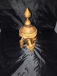 Antique Unique Hand Carved Wolf Detailed Wooden Ashtray Rare