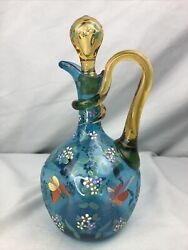 Hand Blown Glass Enamel Painted Decanter Bottle Teal Blue Applied Rigaree Handle