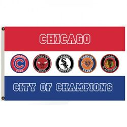 Chicago City Of Champions Flag Banner 3x5ft College RoomDecor Pary Flag