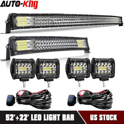 52inch 700w Led Light Bar +20''+4'' Pods Offroad For Jeep Wrangler Truck Suv 4wd