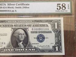 1957a 1 Dollar 2 Digits Low Serial Number 18 Pmg 58