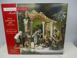 Rare Living Home Holiday Deluxe 14 Pc Christmas Nativity Set With Creche Mib
