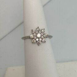 And Company Platinum And Diamond Flower Ring Size 6