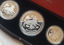 2018 Year Of The Dog Australia Lunar Silver Coin 3 Coin Proof Ltd Edition Set
