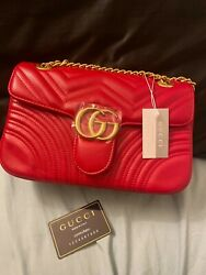 Gg gucci Red and gold marmont bag $475.00