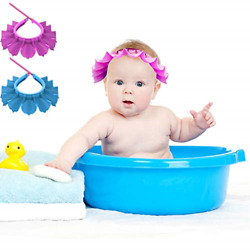 2 Pcs Baby Shower Cap Small Size 0-6 Years Old Baby Silicone Shampoo Shower Cap,