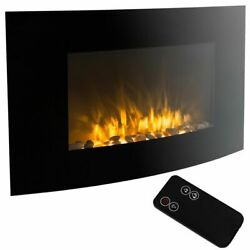 Wall Mounted Electric Fireplace Curved Home Indoor 35 Inch Heater Remote Control