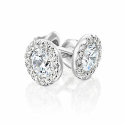 2.70 Ct D/si1 Natural Round Cut Diamond Stud Earrings 14k White Gold