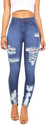 Vibrant Womenand039s Juniors High Waist Jeans Stretchy Ripped Jeans