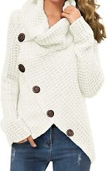 Grecerelle Womenand039s Solid Color Chunky Button Pullover Sweater Turtle Cowl Neck A
