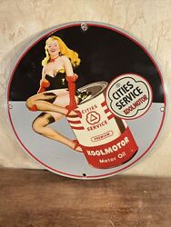 Vintage Style And039and039cities Service Koolmotorand039and039 Gas And Oil12 Inch Porcelain Sign.