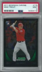 2011 Bowman Chrome 175 Mike Trout Psa 9 Mint Rc Rookie Angels Mvp Red Jersey