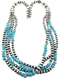 Native American Navajo Sterling Silver Pearl Beads And Turquoise Necklace