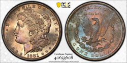 1881 S 1 Morgan Dollar Pcgs Ms 66 Uncirculated Colorful Toned Beauty Nice