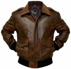 A-2 G-1 Brown Bomber Aviator Menand039s Flight Navy Distressed Real Leather Jacket