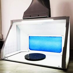 T Togush Professional Airbrush Spray Booth With 3 Led Light Turn Table Large Cap