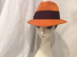 Christys Crown Collection Orange Wool Fedora Hat Purple Bow Band By Tony Merenda