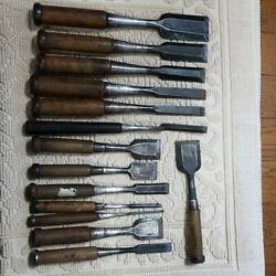 Japanese Chisel Nomi With Sign Set Of 14 Carpenter Tool Blade F/s