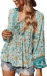 Ecowish Women Blouse V-neck Front Tie Knot Floral Printed Long Sleeve Loose Casu