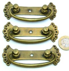 3 X Victorian/arts And Crafts Chest Drawers/desk Brass Pull Handles