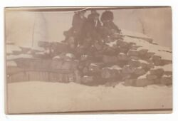 C1907 Rppc Well Dressed Men Logging Case Buried In Snow Vintage Postcard Tractor