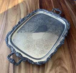 Antique Silverplate Butler Tray Epca Old English By Poole 32andrdquo W/feet And Handles