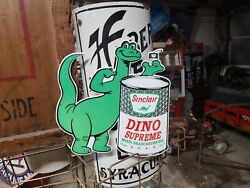 Die Cut Sinclair Dino Oil Can Sign Automobile Engine Drive Gas