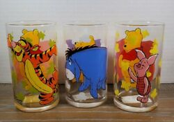 3 Official Walt Disney World Juice Milk Glasses Tumblers With Pooh And Friends