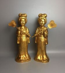 Chinese Rare Tang Dynasty Old Bronze 24k Gilt Women Maid